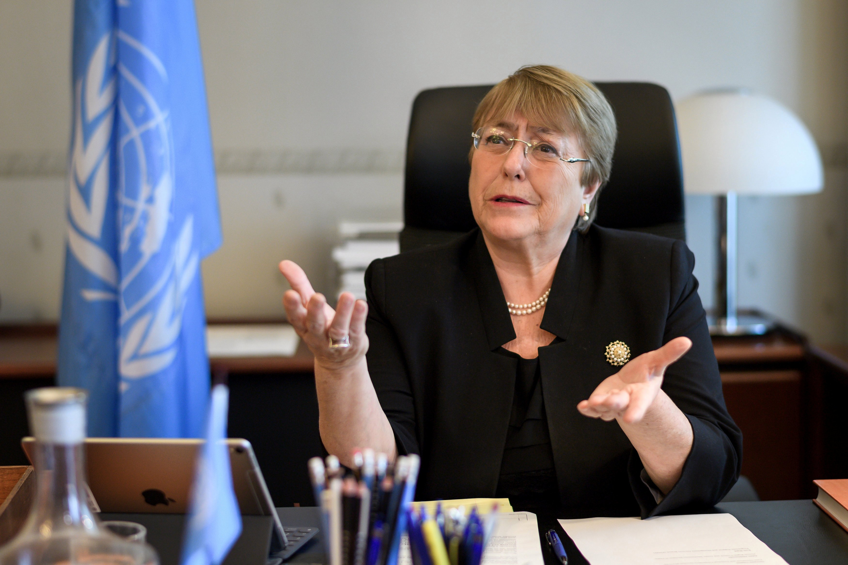 Former Chilean president Michelle Bachelet speaks from her office at the Palais Wilson on her first day as new United Nations (UN) High Commissioner for Human Rights in Geneva, Switzerland, September 3, 2018.  Fabrice Coffrini/Pool via REUTERS